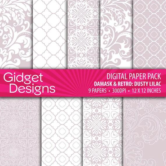 INSTANT DOWNLOAD Digital Paper Pack: Damasks & Retro - Dusty Lilac