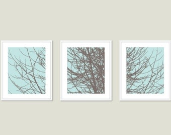 Modern Tree Branches Art Prints - Blue and Brown Tree Art - Woodland Home Decor - Winter Tree Trio Wall Art - Tree Triptych