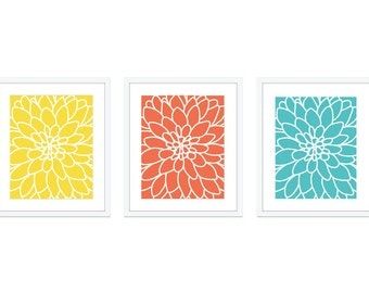 Dahlia Prints - Dahlia Wall Art - Modern Flower Prints - Set of 3 Prints 5x7 or 8x10 - Yellow Coral Aqua Artwork - Aldari Art
