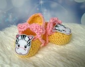 Baby Booties Zebra Yellow and Pink 0 - 3 months