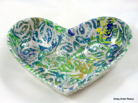 Paisley heart dish reuse metal blue green hand printed collage