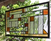 """Mission Style Clear, Amber & Gold Geometric -10"""" x 19""""--Stained Glass Window Panel--"""