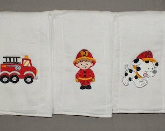 Firefighter burp cloths baby boy firefighter burp cloth baby boy burp cloth personalized burp cloth