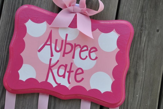 Hairbow Holder - FANCY DOT Design - XLarge - Handpainted and Personalized Bow Holder