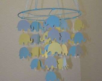 Elephant Baby Mobile Yellow Blue and Gray Can be custom to your colors Photography Prop