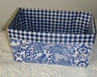 French Blue Floral Oilcloth Caddy