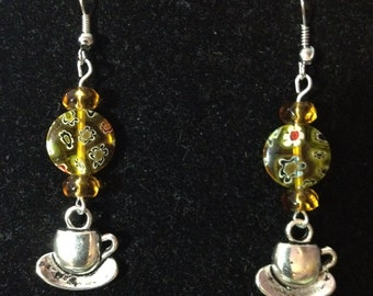 Marigold and Flowered Yellow Tea Cup Earrings