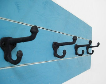Turquoise Plank Coat Rack 3 Feet Long with Schoolhouse Hooks