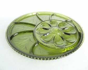 Hostess Vintage Emerald Glass Relish and Deviled Egg Retro Serving Tray
