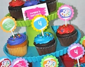 Birthday Cupcake Toppers - Artist Painting Party - Art Birthday Party Decorations - Paint Party Cupcake Toppers - Set of 12
