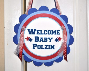 Sports Theme Door Sign - Boys Baby Shower or Birthday - Sports All Star Theme - Red, White and Blue