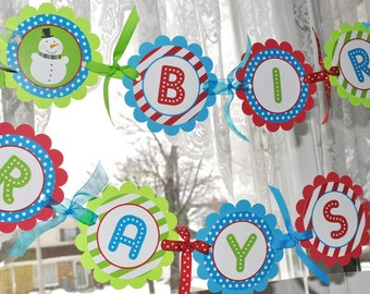 Snowman 1st Birthday Banner - Winter Onederland Birthday Party Decorations - Christmas Party Banner