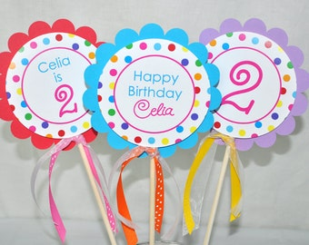 Birthday Centerpiece Sticks - Girls 1st Birthday - Birthday Party Decorations - Rainbow Birthday Party - Colorful Polkadots - Set of 3