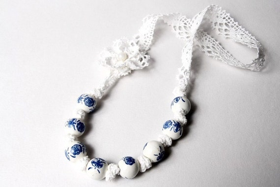 Beaded necklace, bib lace flower white and blue knotted ribbon handmade, gift for her