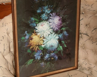 Vintage Peonies Print on Textured Board in Frame with Glass