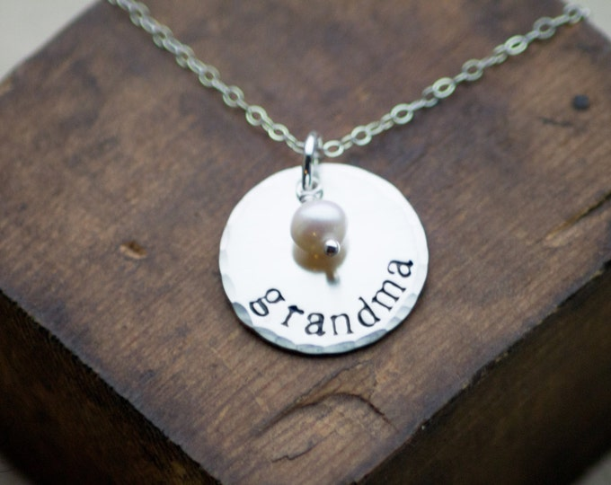 Grandma Sterling Silver Hand Stamped Circle Disc Necklace Mothers Day Gift by Betsy Farmer Designs