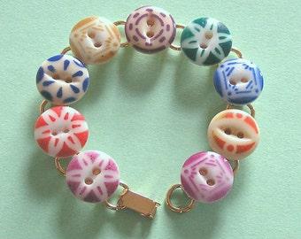 1800s China Stencil Button Bracelet
