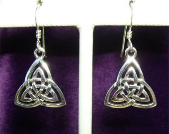 Celtic Knot DOUBLE TRINITY Earrings in STERLING Silver