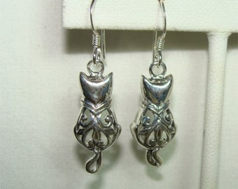 Filagree CAT or KITTY Earrings Made of  STERLING Silver