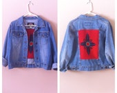 vintage denim jacket / southwestern / size small / medium / large / navajo / aztec / jean jacket