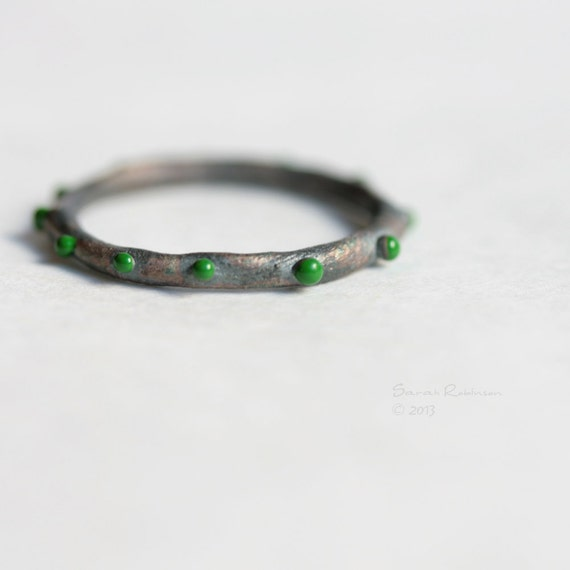 Spring Green Dots Ring Black Bubbles Sterling T11