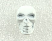 Wholesale - Skull Metal Buttons - 30 Pure White Skull Solid Metal Shank Button. 0.59 inch.