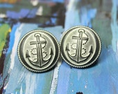 Metal Buttons - Rope Anchor Metal Buttons , Gunmetal White Color , Domed , Shank , 0.75 inch , 10 pcs