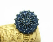 Metal Buttons - Flower Filigree Metal Buttons , Navy Blue Painted Brass Color , Shank , 0.71 inch , 10 pcs