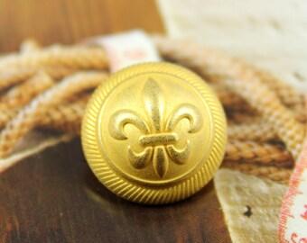 Metal Buttons - Fleur-De-Lis Metal Buttons , Gold Color , Domed , Shank , 0.67 inch , 6 pcs