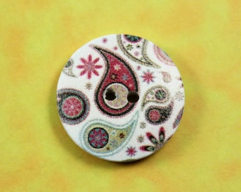 Wooden Buttons - Paisley Fern Pattern White Wood Buttons, 0.98 inch (6 in a set)