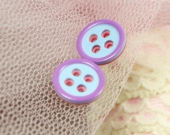 Fresh Plastic Buttons - Blue Color Lavender Edge Peach Back Plastic Buttons. 0.47 inch. 10 pcs