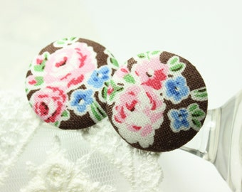 Elegant Large Paeonia Flowers Brown Color Fabric Buttons,1 inch.  (8 in a set)