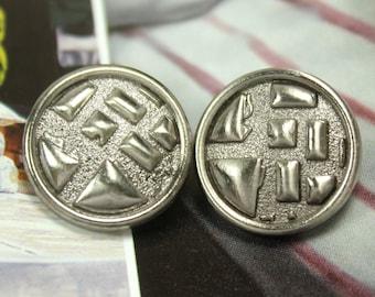 Metal Buttons - Brick Wall Metal Buttons , Shiny Gunmetal Color , Shank , 0.75 inch , 10 pcs