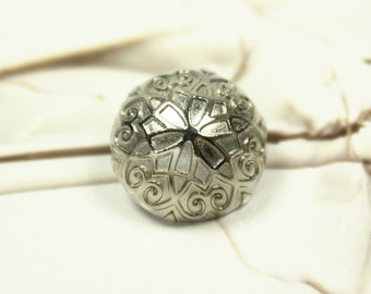 Metal Buttons - Floral Scroll Metal Buttons , Silver Color , Domed , Shank , 0.67 inch , 10 pcs