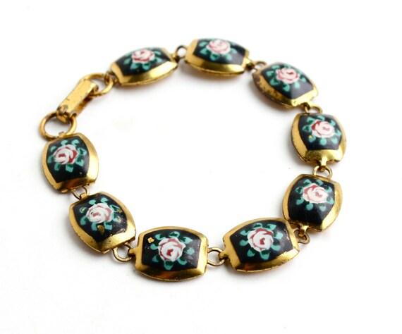 Vintage Guilloche Enamel Flower Bracelet Gold Tone Panel