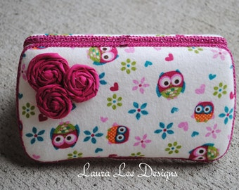 LAST ONE Owls with Rolled Flowers Boutique Style Travel Baby Wipe Case,  Diaper Wipes Case, Wet Wipe Case, Nappy Wipes Case
