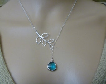 Branch Lariat Necklace with Glass Stone Pendant