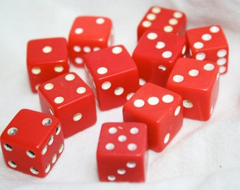 Red Dice with White, Vintage Dice