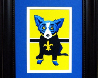 George Rodrigue BLUE DOG Saints Promotional Postcard - Matted and Framed - 11 in  x  13 in