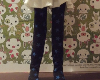 Black with blue stars tights leggins for Blythe