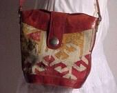 VintageTurkish leather and carpet shoulder bag