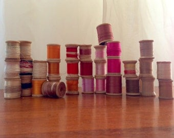 36  Wood Spools of Sewing Thread Coats and Clarks, Star, Corticelli, Pinks, Yellow