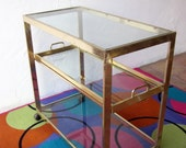 amazing modernist  hOLLYWOOD  rEGENCY rolling bRASS  BAR CART  tea Trolley Table with removable TRAY