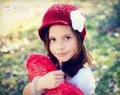 Girls Newsboy Cap, Girls Clothing Accessories, Hats, Beanie Hat with Visor, Valentine Red Hat with white flower