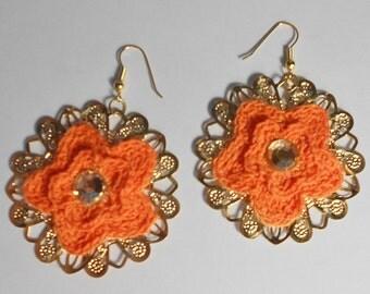 Orange Crochet Earrings-Orange Gold Earrings-Feligree Earrings