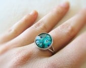 Framed glass peacock ring - peacock feather picture ring - glass dome ring - adjustable ring