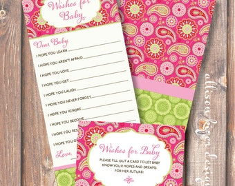 Bright Colorful Pink and Green Baby Wishes Hot Pink and Lime Paisley Printable Wishes for Baby Game Baby Girl Shower - INSTANT DOWLOAD
