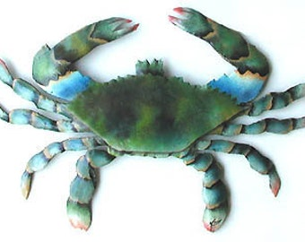 "Metal Wall Art, Blue Crab - 34"" Hand Painted Wall Hanging - Haitian Steel Drum,  Metal Art - Tropical Home Decor, Beach Decor-K-7066-34"