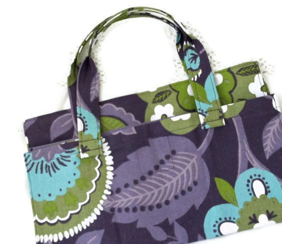 Market grocery shopping bag upcycled reusable Purples, greens mod print