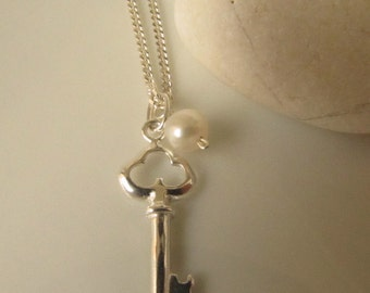 925 Sterling Silver Key Pendant and Freshwater Pearl Necklace, Charm Necklace